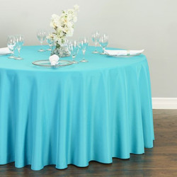 Round Polyester Tablecloth  Sky Blue