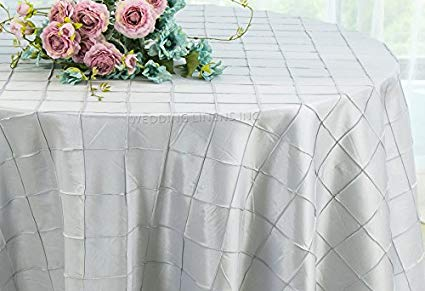Pintuck Taffeta Tablecloth Platinum