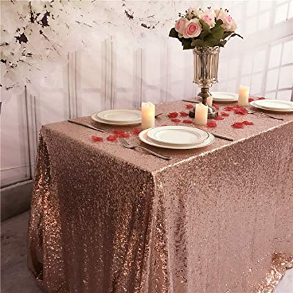 Rose Gold Sequin Tablecloth.