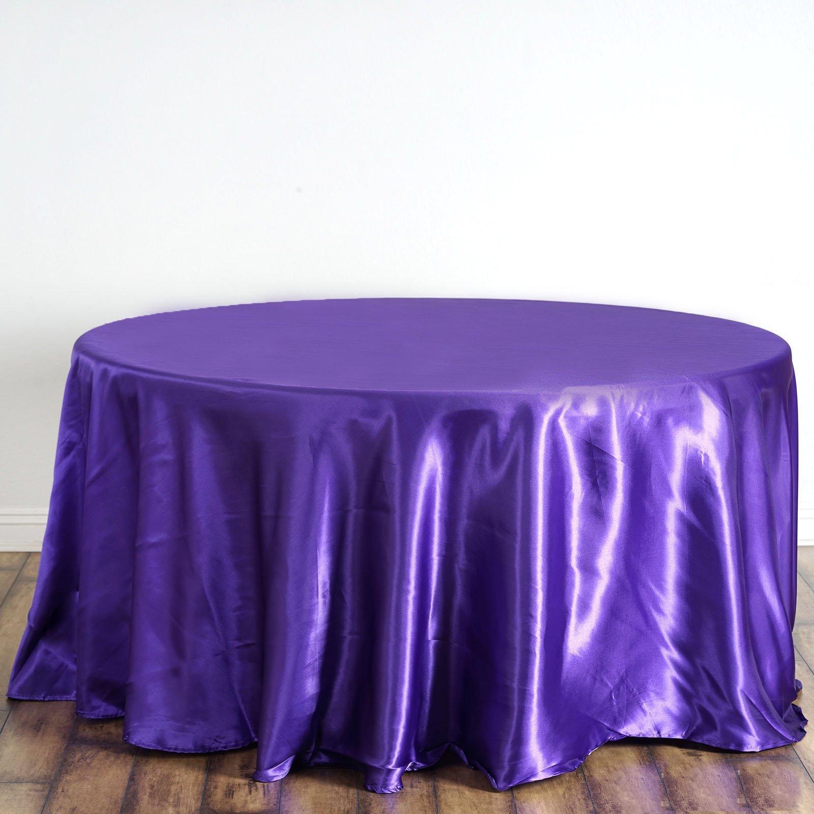 Purple Satin Round Tablecloth