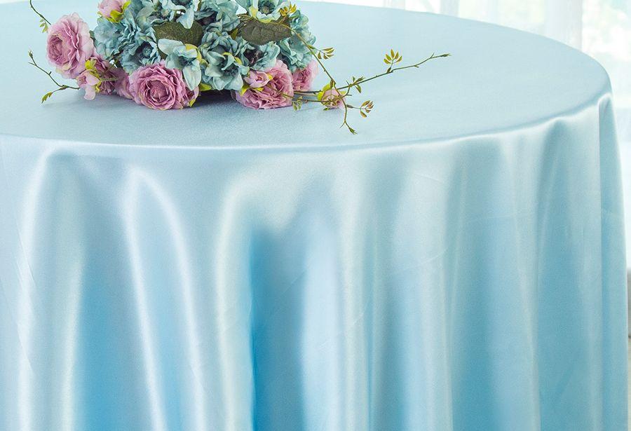 Baby Blue Satin Tablecloth