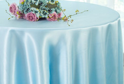 Baby Blue Satin Tablecloth