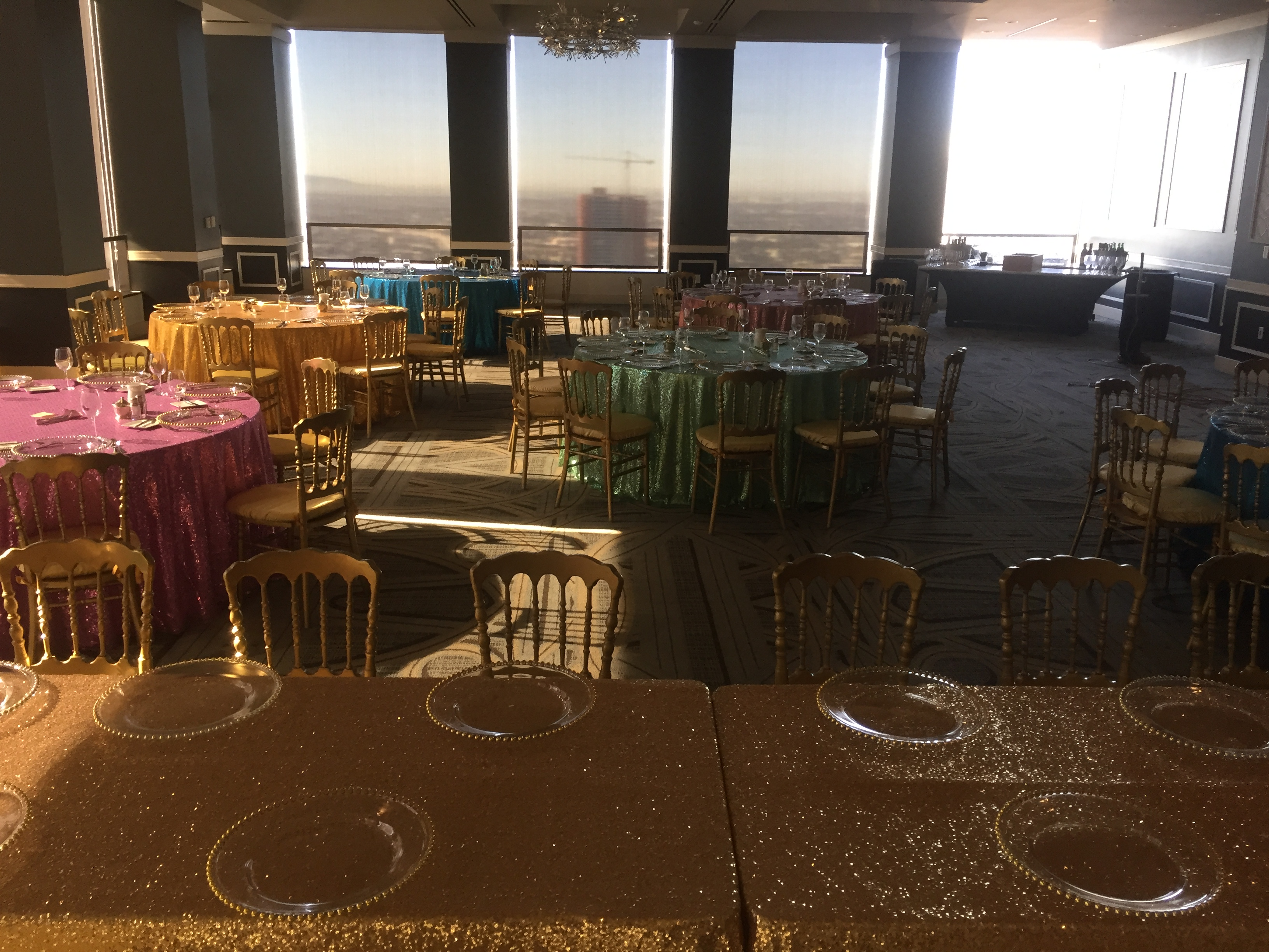 Set up with our Sequin Linens