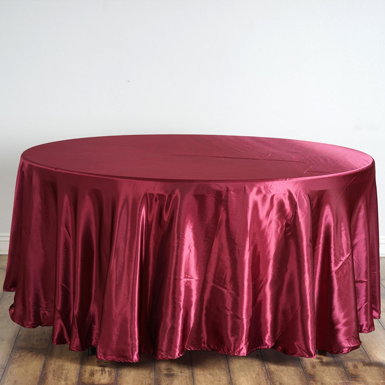 Burgandy Satin Round Tablecloth