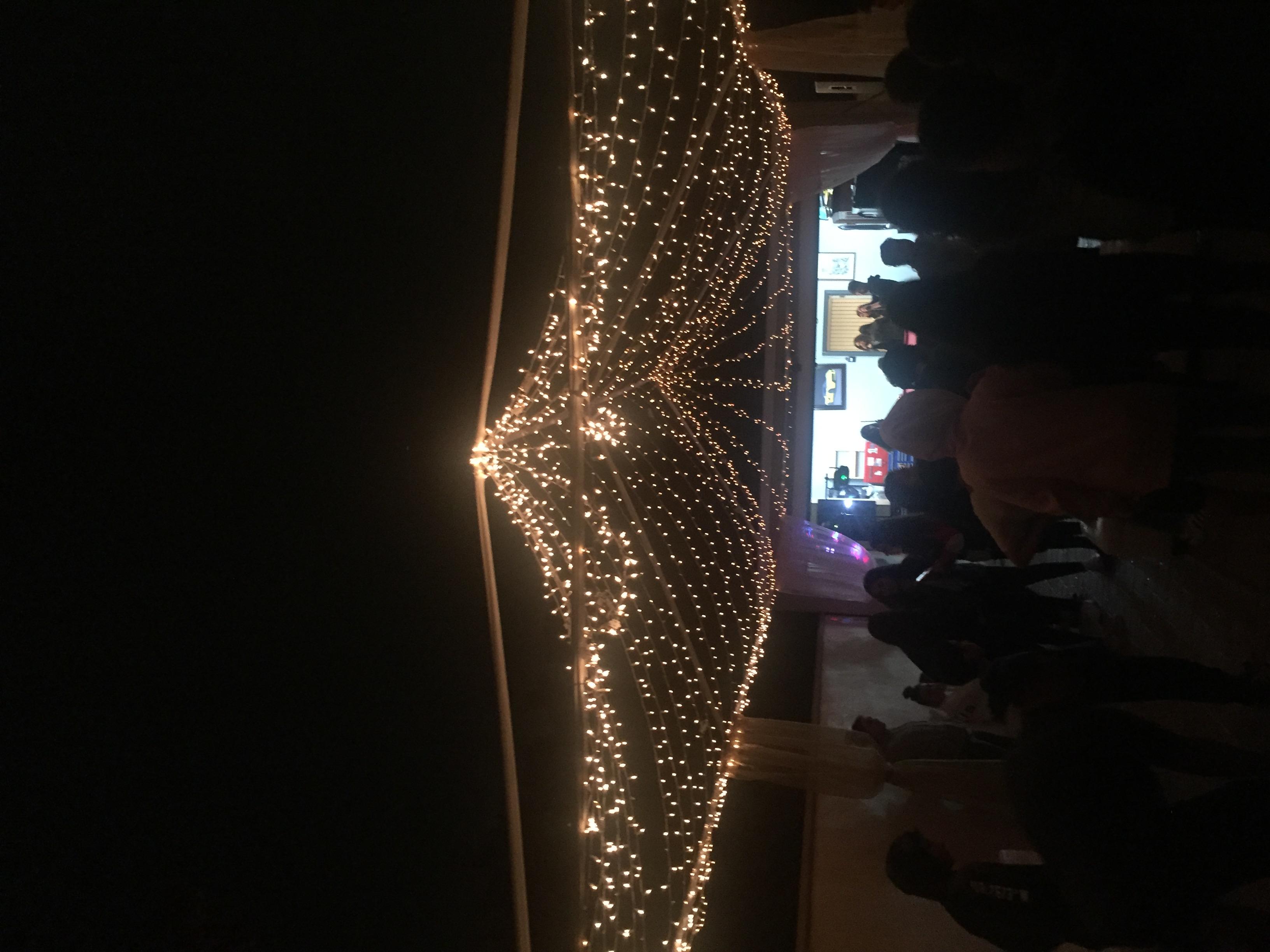 Tent with Christmas Lights