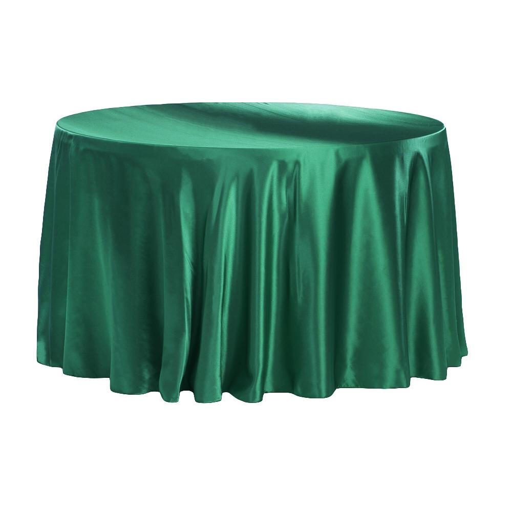 Emerald Green Satin Round Tablecloth