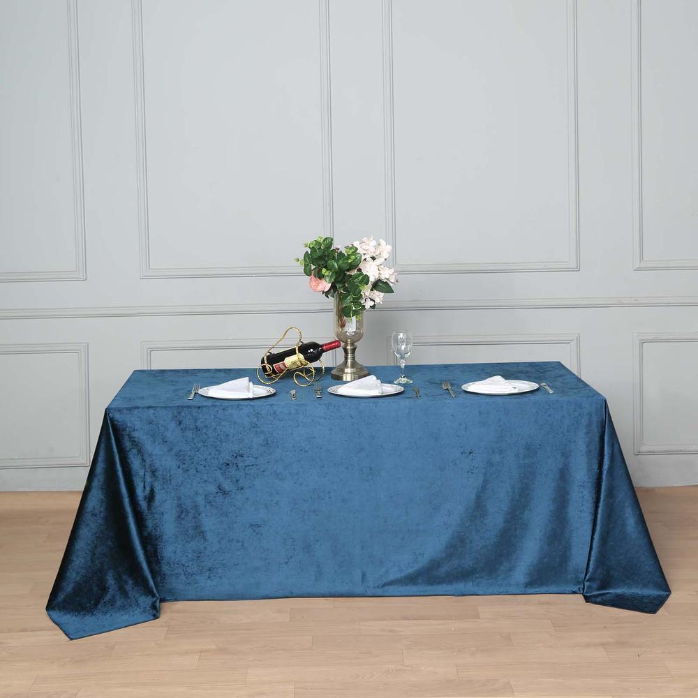 Navy Blue Premium Velvet Rectangle Table