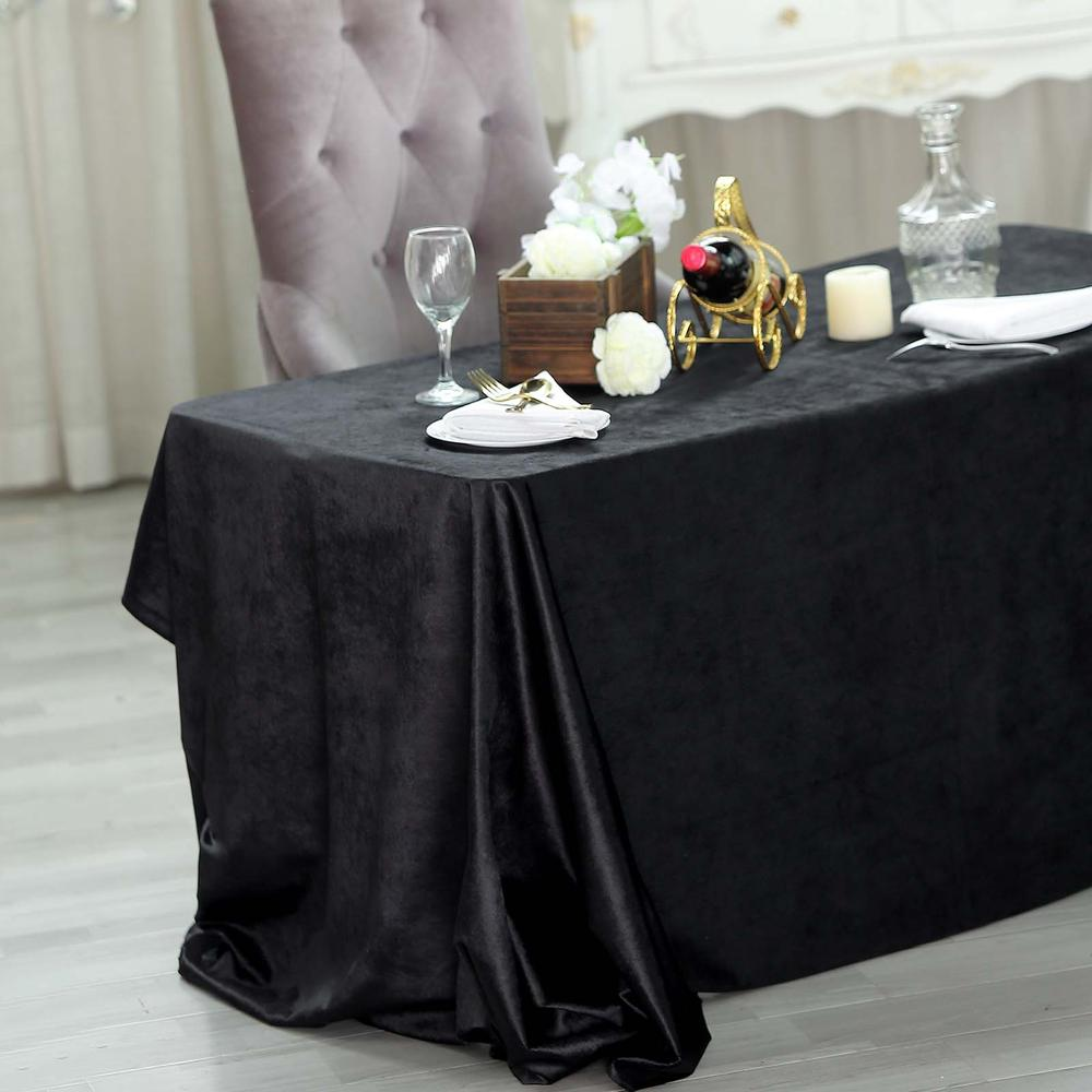 Black Premium Velvet Rectangle Tableclot