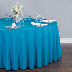 Round Polyester Tablecloth Caribbean Blu
