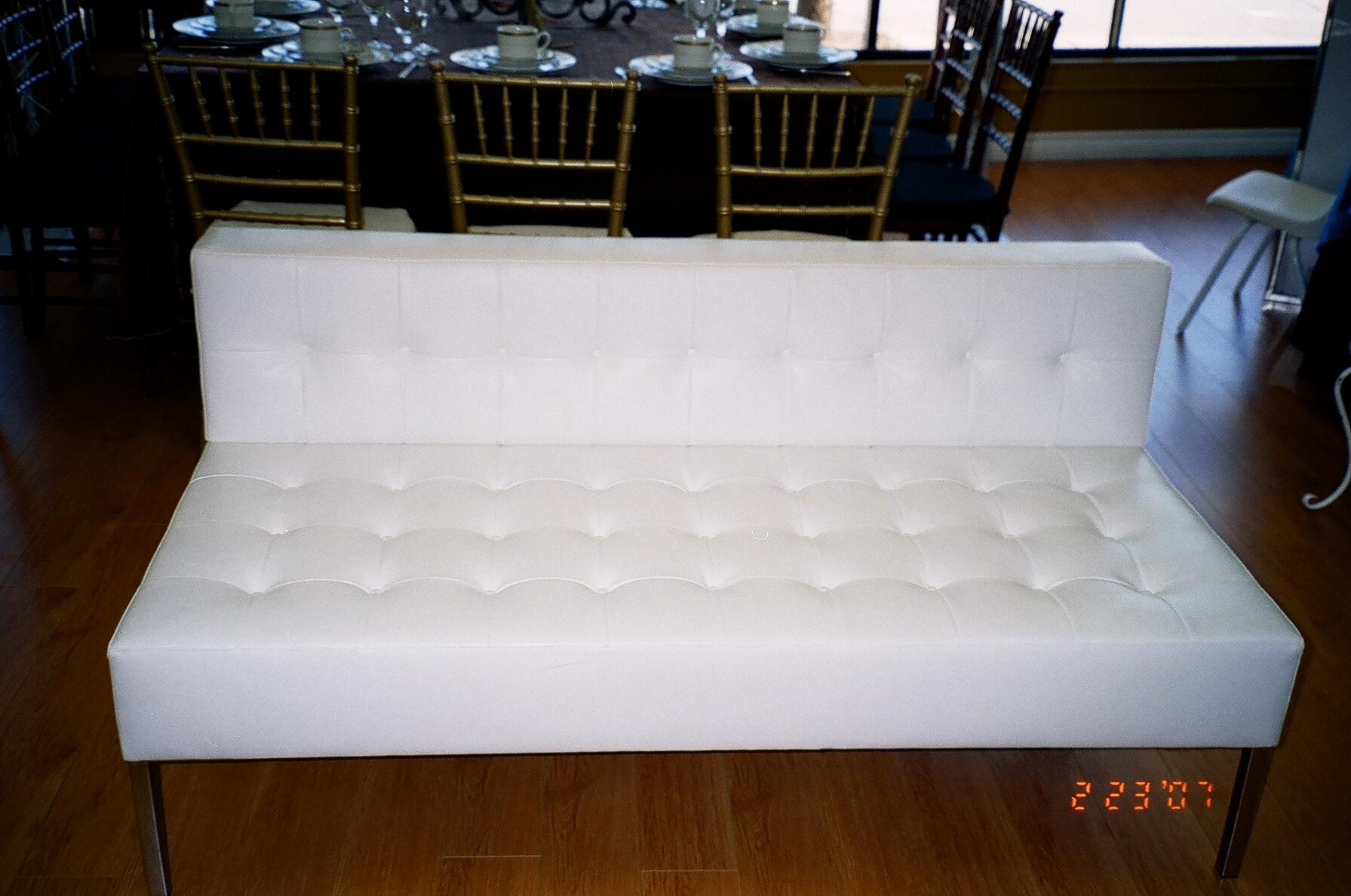 Tufted White Leather Love Seat