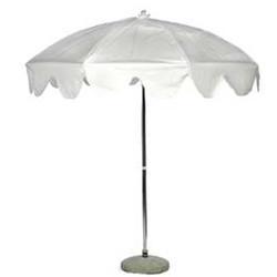 White Garden Umbrella with Base