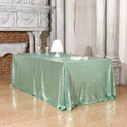 Mint Green Sequin Tablecloth Rectangular