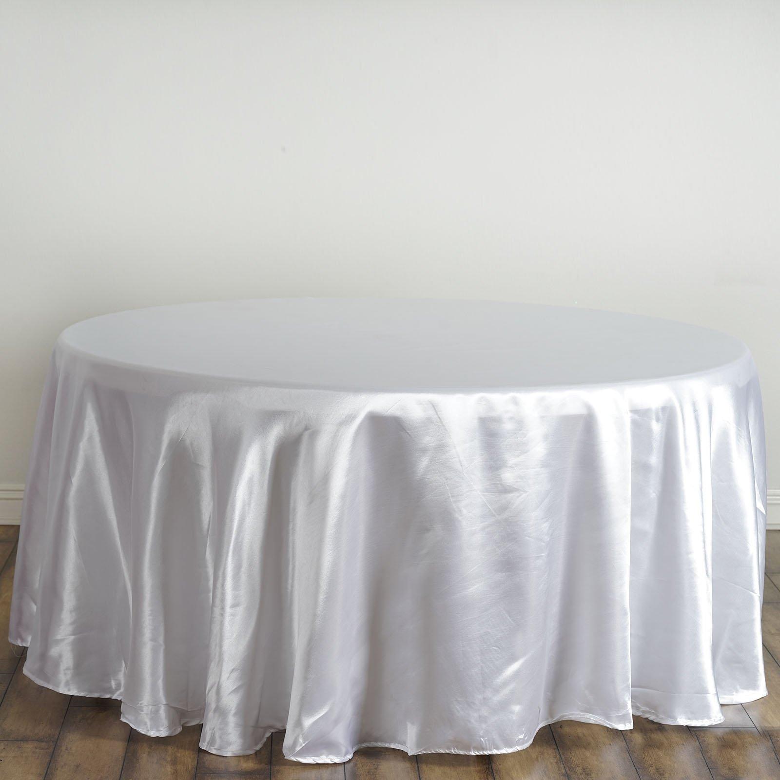 White Satin Round Tablecloth