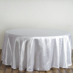 White Satin Round Tablecloth