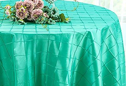Pintuck Taffeta Tablecloth Aqua Blue