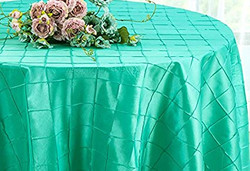 Pintuck Taffeta Tablecloth Aqua Blue