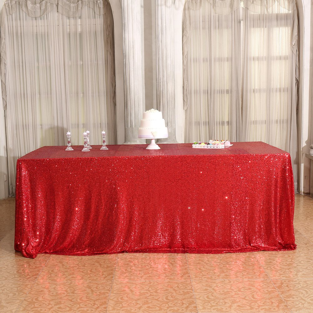 Red Sequin Tablecloth Rectangular
