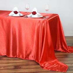 Coral Satin Rectangular Tablecloth
