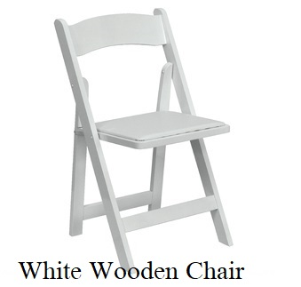 White Wood Chairs with Padded Seats