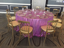 Beutiful Setup with Purple Sequin Tablec