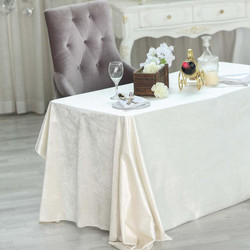 Ivory Premium Velvet Rectangle Tableclot