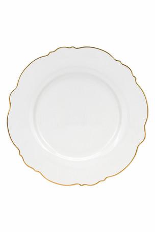 Wavy Dinner Plate Gold Rim
