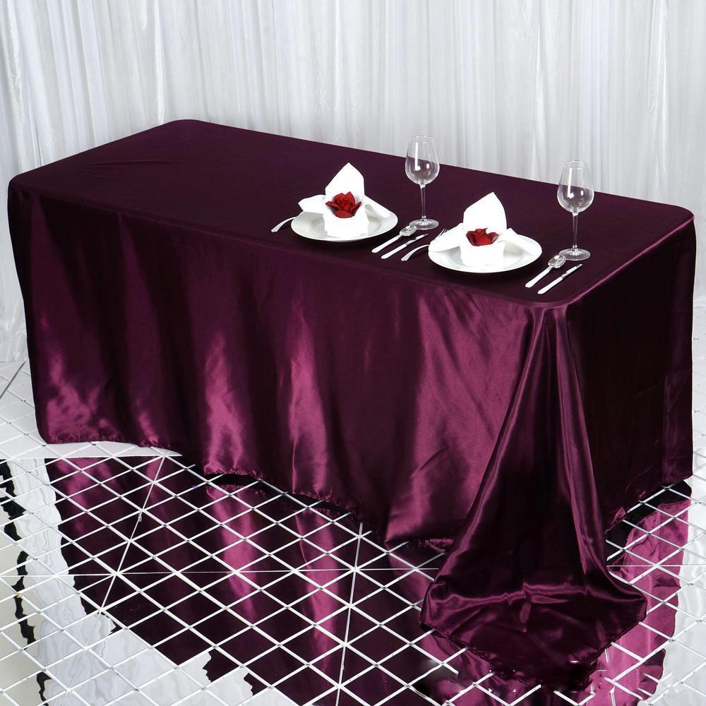 Eggplant Satin Rectangular Tablecloth
