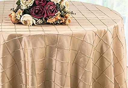 Pintuck Taffeta Tablecloth Champagne