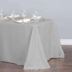 Rectangular Tablecloth Silver Polyester.