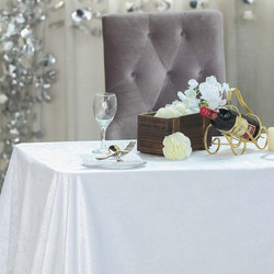 White Premium Velvet Rectangle Tableclot