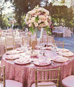 Pink Gold Round Sequin Tablecloth