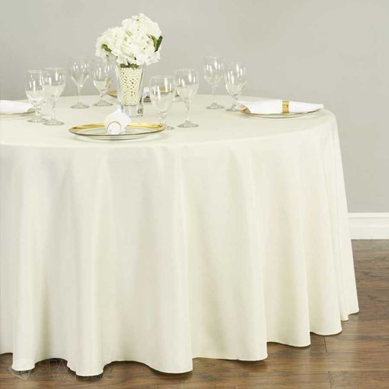 Round Polyester Tablecloth White