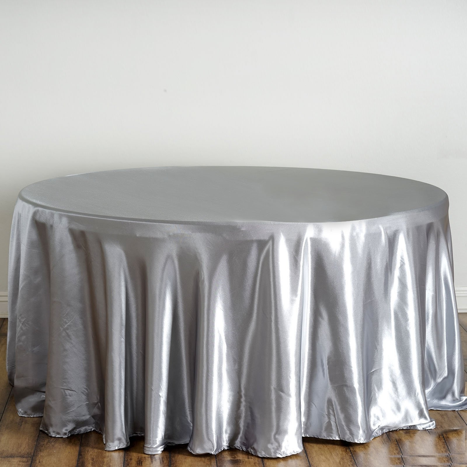 Silver Satin Round Tablecloth