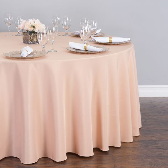 Round Polyester Tablecloth Peach