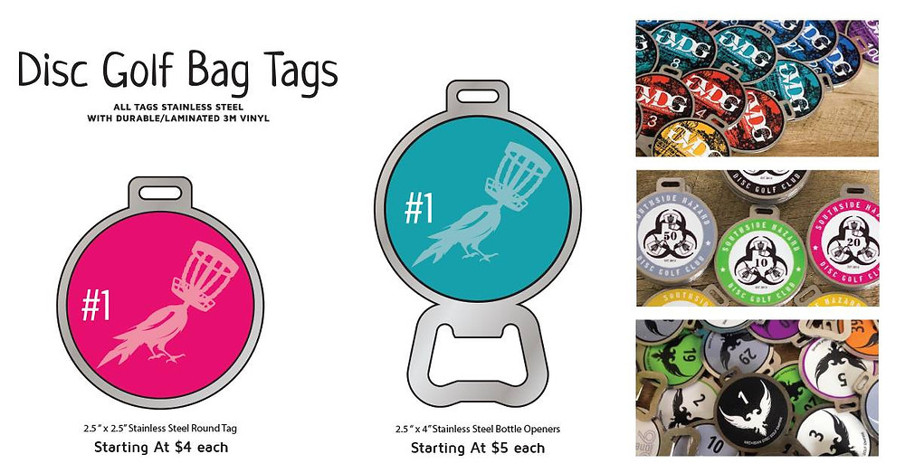Prices for DISC GOLF BAG TAGS