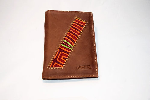 Passport Wallet - Mola and Leather - Brown