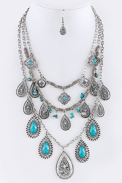 FAUX GEM FILIGREE ETCHED LAYERED NECKLACE SET