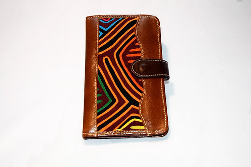 Passport/Wallet Mola with Brooch - Brown