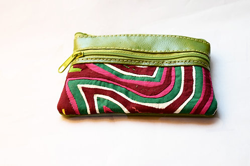 Purse Mola and Leather with Zipper