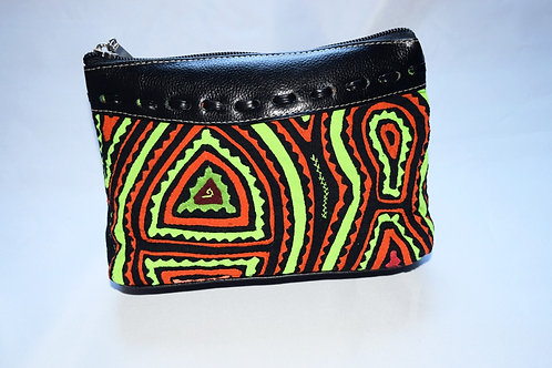 Cosmetic Bag with Mola and Leather