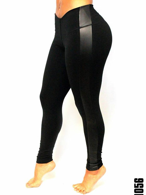 Butt Lifting Leggings with Lateral Leather