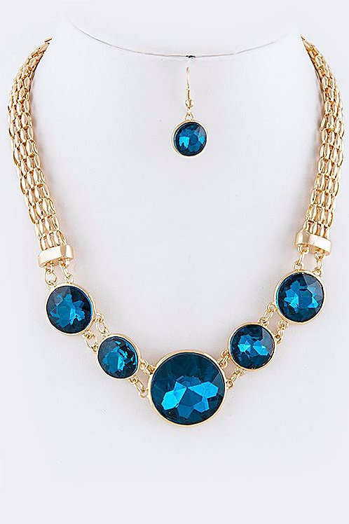 ROUND FACETED RHINESTONE LINK NECKLACE SET