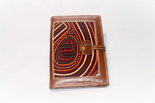 Passport/Wallet Square Mola with Brooch - Brown