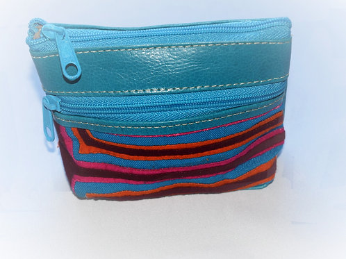 Purse Mola and Leather Two Zipper - Sky Blue
