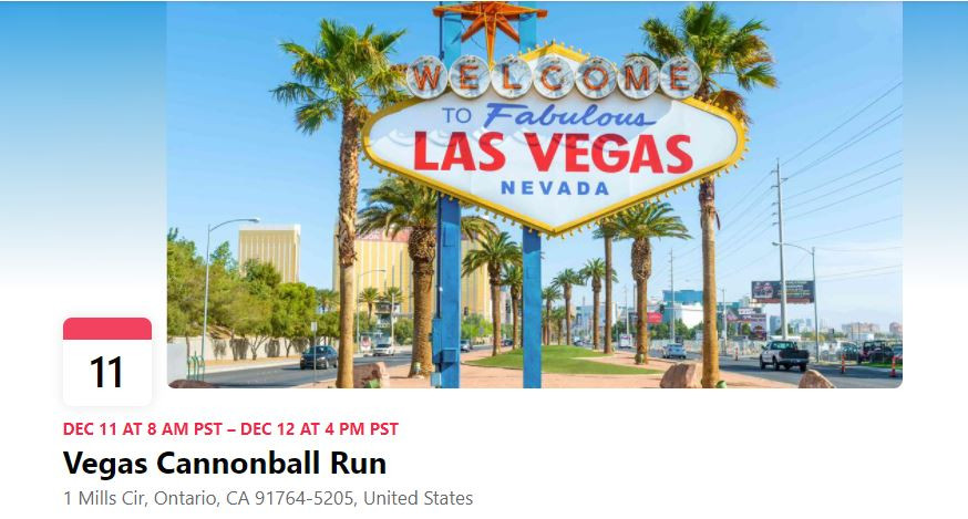electric cannonball run motorcycle race ev LA to Las Vegas