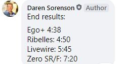 Daren Sorenson cannonball run race results