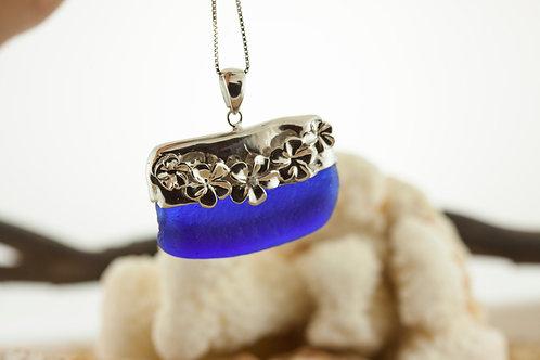 Cobalt Blue Seaglass Plumeria Lei Cap Necklace