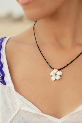 White 14k gold aromatherapy pendant necklace haloha jewelry this beautiful handmade plumeria aromatherapy necklace is crafted individually with aloha love in hawaii plumeria is the state flower of hawaii offering an aloadofball Image collections