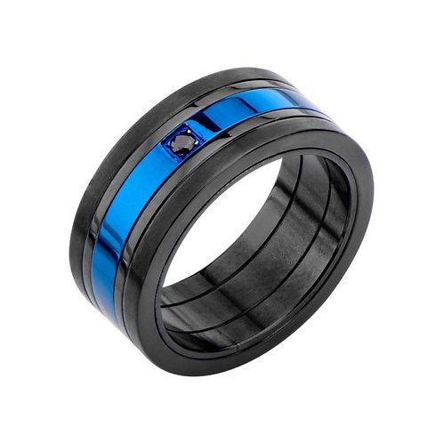 Anillo de acero - Negro y Azul