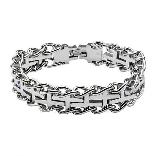 Brazalete de acero inoxidable -  Cruces